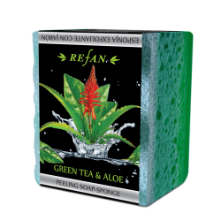 Muilas-kempinė pilingui Green tea & Aloe 75 g